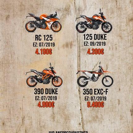 Abverkauf von unseren Vorführern und Tageszulassungen  Es ist wieder soweit, wer sich noch schnell ein günstige KTM holen will sollte jetzt zuschlagen, ... Weiter >>