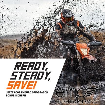KTM EXC Aktion  READY, STEADY, SAVE!  Jetzt 800€ ENDURO Off-Season Bonus sichern!   WO IST DEINE GRENZE? Enduro ist hart, macht Spaß, ist tech... Weiter >>