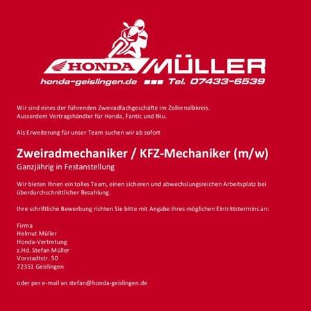 Stellenangebot Zweiradmechaniker/KFZ-Mechaniker (m/w)
