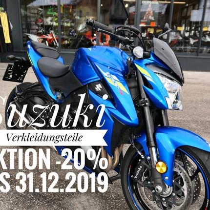 Suzuki  & Honda Verkleidungsaktion  -20% Jetzt bis Ende Dezember 2019 gibt es eine Suzuki & Honda Verkleidungsaktion mit minus 20%!  Also wer sein Bike jetzt wieder Fit ... Weiter >>