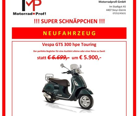 Motorradprofi GmbH-News: Vespa GTS 300 hpe Touring Schnäppchen