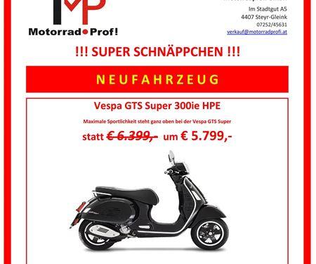 Motorradprofi GmbH-News: VESPA GTS SUPER 300 HPE SCHNÄPPCHEN