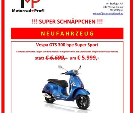 Motorradprofi GmbH-News: VESPA GTS SUPER 300 HPE SUPERSPORT SCHNÄPPCHEN