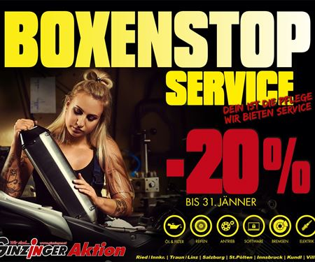 Ginzinger GmbH Zentrale Ried-News: Boxenstop Service -20%