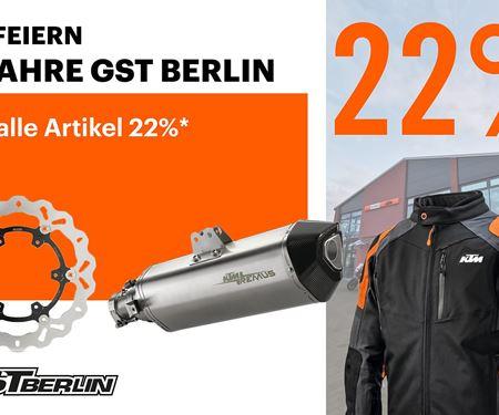 GST Berlin GmbH-News: 22% auf alles! GST Berlin feiert 22 Jahre.