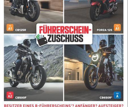 Motorradtechnik Lang GmbH-News: HONDA FÜHRERSCHEINZUSCHUSS JETZT FÜR ALLE