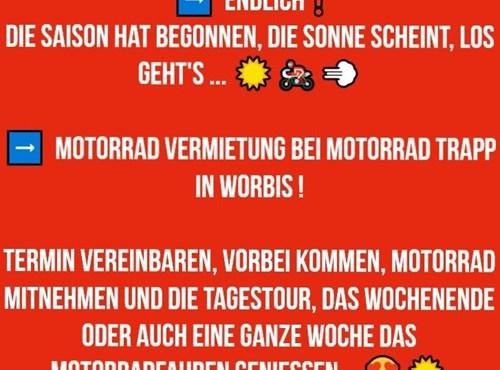 NEWS Motorrad Vermietung