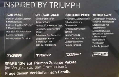 Maßgeschneiderte Zubehör Pakete von Triumph!