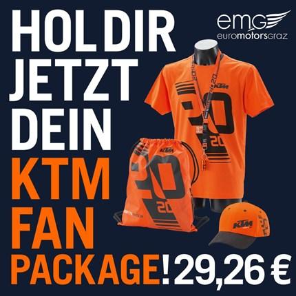 KTM FAN PACKAGE  Ab sofort erhältst du bei uns das limitierte KTM FAN PACKAGE. Alle Orange Bleeder, die 2020 kein Rennen besuchen können, ihre H... Weiter >>