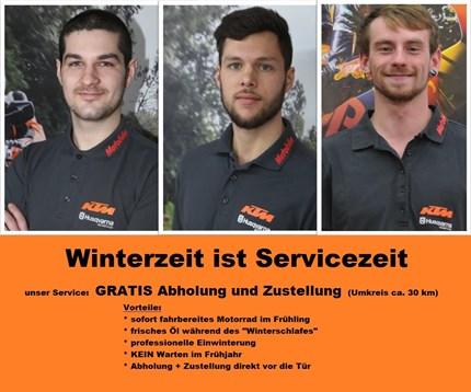 SERVICE  SERVICE  SERVICE WINTERZEIT IST SERVICEZEIT   Gratis Motorrad abholen und zustellen  (im Umkreis von ca. 30km)   Jetzt Termin vereinbaren! ... Weiter >>