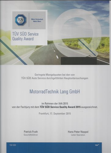 TUEV Sued Service Quality Award 2015