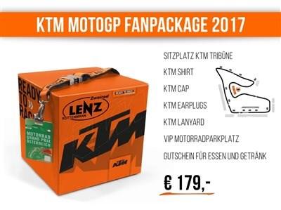 KTM MotoGP Fanpackage KTM FAN PACKAGE 2017 Die MotoGP ist 2017 wieder in Österreich – und das KTM-MotoGP-Team mit dabei! Vom11. bis 13. August 2017z... Weiter >>