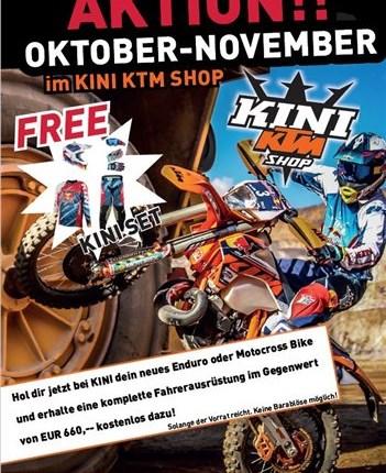 Enduro und Motocross Aktion bei KTM KINI in Wiesing Hol dir jetzt im Aktionszeitraum 12.10. - 30.11.2017 dein neues Enduro oder Motocross Bike bei KTM KINI in Wiesing und erhalte ein... Weiter >>
