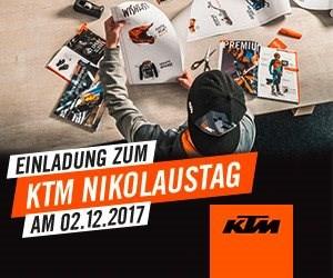 Nikolaustag am 2. Dezember von 10 bis 15 Uhr Einladung zum KTM Nikolaustag am 02.12.2017 von 10 bis 15 Uhr Bei uns Gewinnspiel und KTM Power Days Gutschein einlösen.  Überla...