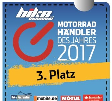 """Wir feiern den 3. Platz """"Motorradhändler des Jahres"""""""