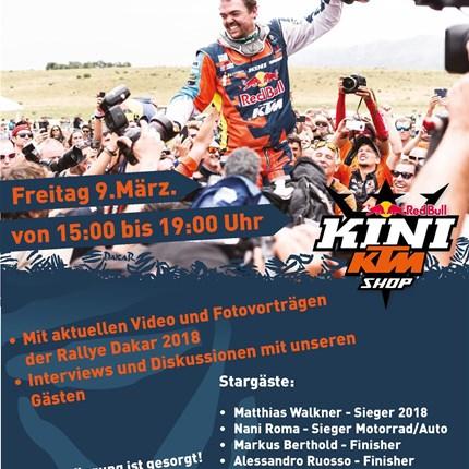 "Dakar Heros Day im KTM KINI Shop  Meet & Greet die ""Dakar Heroes"" im KTM KINI Shop in Wiesing  Mit Matthias Walkner, Nani Roma und viel Rally-Flair ""Wir wollen ..."