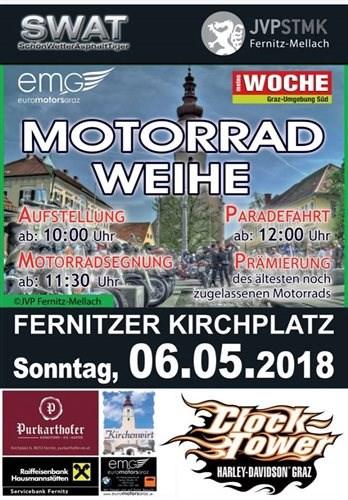 Motorradweihe Fernitz  Wir freuen uns, dass wir auch heuer wieder als Hauptsponsor bei der traditionellen Motorradweihe ... Weiter >>