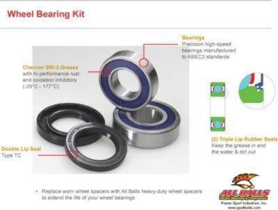 All Balls Rear Wheel Bearing /& Seal Kit For Harley XLH 883 Sportster 1986-1992