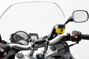 Bild von Navi-Halter am Lenker. Schwarz. BMW F800R, F800GT, Husqvarna TR650.