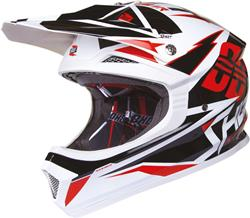SHOT FURIOUS KID FUSION Helm mit DD sw./rot/weiss S 48cm
