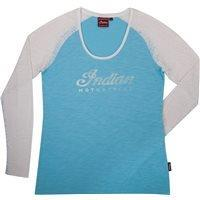 INDIAN LADY Langarm Shirt weiss/blau
