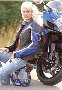Bild von BELO SPRINTER Damenlederjacke schwarz/blau 44