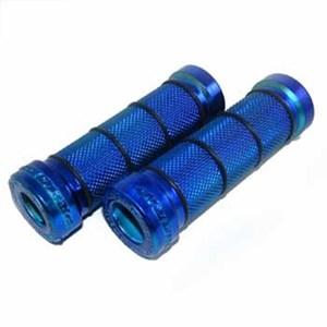 Bild von Gummigriffe Motorrad blau eloxiert