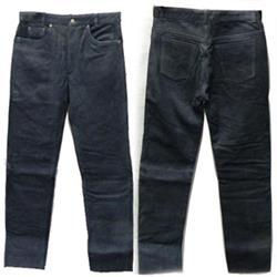 Leder-Jean schwarz Nubuk 52/34