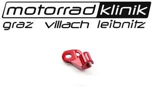 Bild von CNC Halter Kupplungsseil rot Tiger 800 CNC gefrästes Austauschteil für den Kupplungszughalter an 800er Motoren. Rot eloxiert.statt €30 nur €10