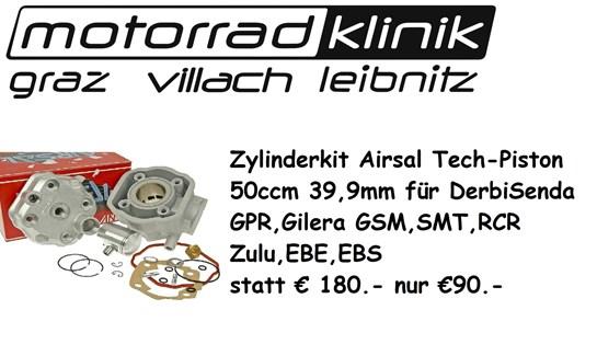 Airsal Zylinderkit Airsal Tech-Piston 50ccm 39,9mm für Derbi Senda GPR, Gilera GSM SMT RCR Zulu EBE, EBS statt €180.- nur €90.-
