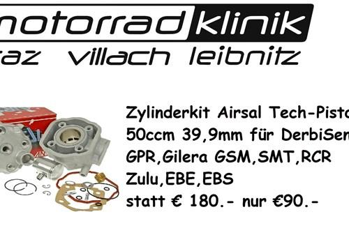 Zylinderkit Airsal Tech-Piston 50ccm 39,9mm für Derbi Senda GPR, Gilera GSM SMT RCR Zulu EBE, EBS statt €180.- nur €90.-