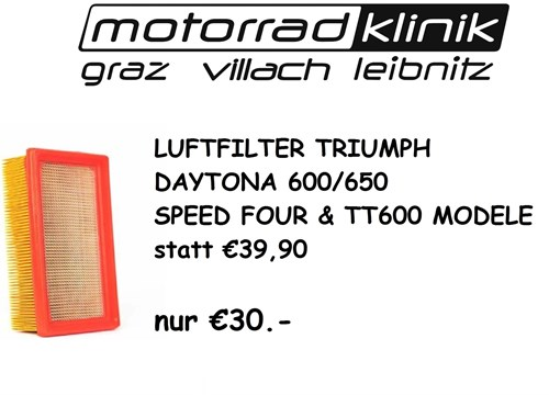 LUFTFILTER DAYTONA 600/650, SPEED FOUR & TT600 MODELE statt €39,90 nur €30.-