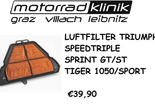 LUFTFILTER SPEED TRIPLE/SPRINT/GT/ST/TIGER 1050/TIGER SPORT €39,90