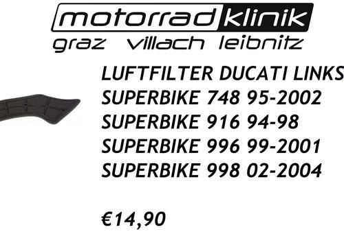 LUFTFILTER LINKS SUPERBIKE 748 95-2002 SUPERBIKE 916 94-98 SUPERBIKE 996 99-2001 SUPERBIKE 998 02-2004 €14,90