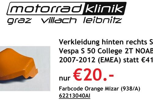 Verkleidung hinten rechts Spoiler Vespa S 50 College 2T NOABS E2 2007-2012 (EMEA) statt €41,90 nur €20.- Farbcode Orange Mizar (938/A)