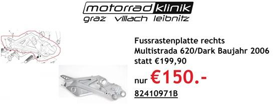 Ducati Fussrastenplatte rechts Multistrada 620 / Dark statt € 199,90 nur € 150.-