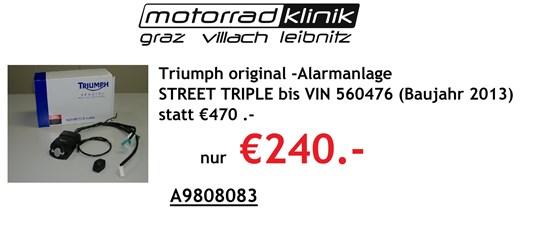 Triumph Alarmanlage STREET TRIPLE bis VIN 560476 (Baujahr 2013) statt €470 nur €240.-
