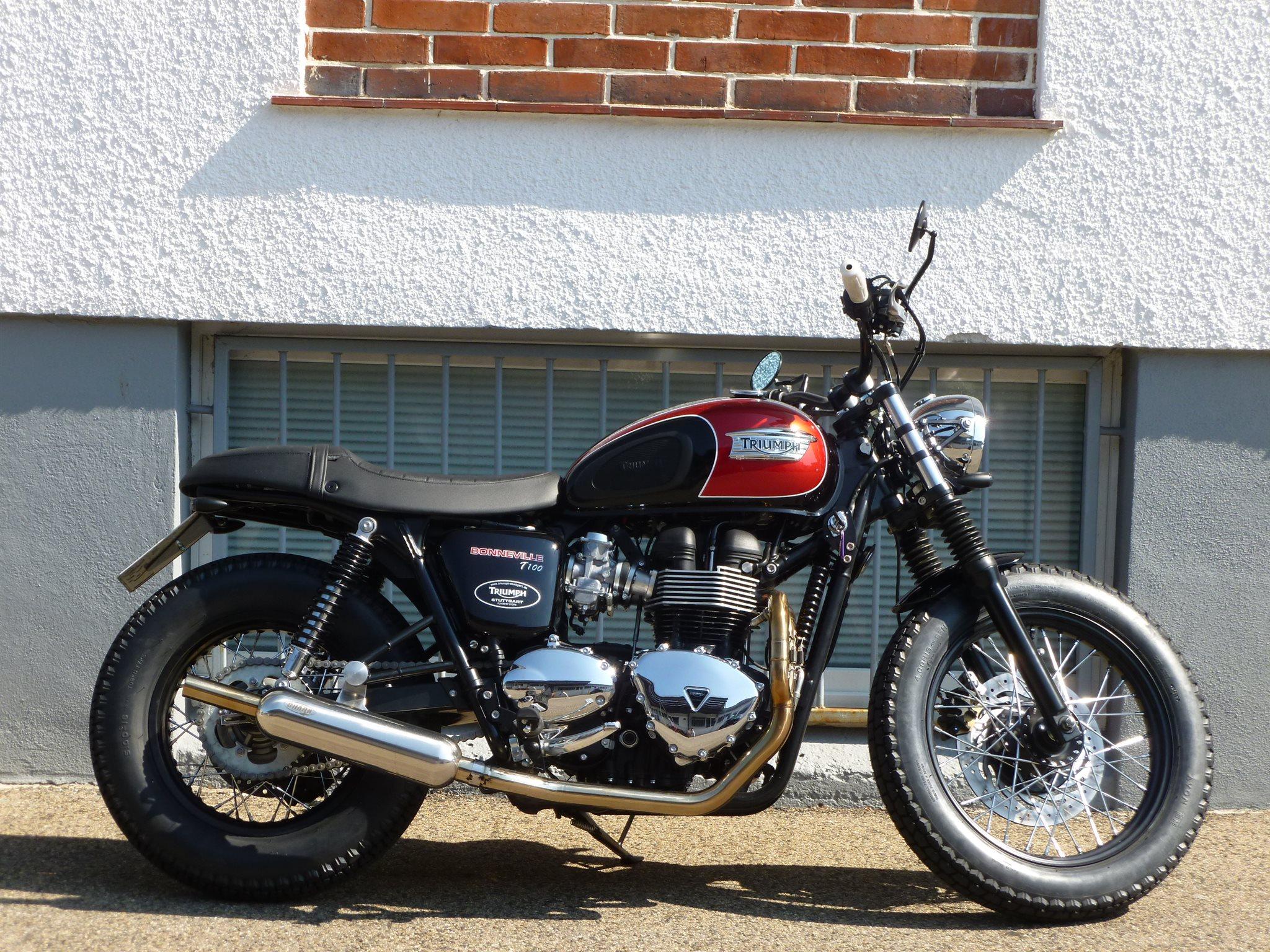 umgebautes motorrad triumph bonneville t100 von sbf triumph bikes parts gmbh co kg. Black Bedroom Furniture Sets. Home Design Ideas