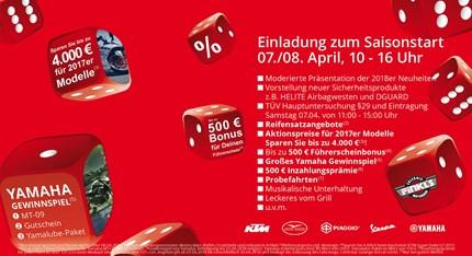 Saisoneröffnung Liebe Motorradfreunde,pünktlich zum Saisonstart möchten wir Sie am 07./08. April 2018 von 10:00 - 16:00 Uhrzur größten Rabatt-Aktion seit unserem ...