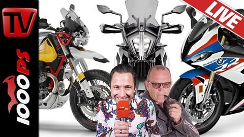 Motorrad Termin 1000PS Live Motorrad Talkshow - KTM 790 Adventure, BMW S 1000 RR  und Moto Guzzi V85 TT