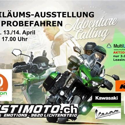 Jubiläums Motorrad Ausstellung 13./14. April30 Jahre Destimoto in LichtensteigNeuheiten der Marken KTM, Kawasaki, Vespa, PiaggioProbefahren der wichtigsten NeuheitenAKTION 3% Lea...