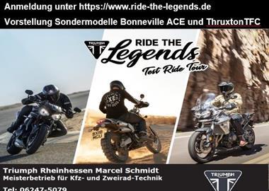 Motorrad Termin Triumph Test Ride Tour auf Johanniskreuz