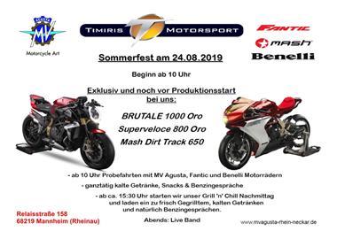 Motorrad Termin Sommerfest & Weltprämiere - MV Agusta Neuheiten