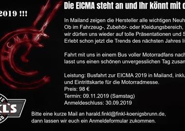 Motorrad Termin Busfahrt zur EICMA 2019 nach Mailand