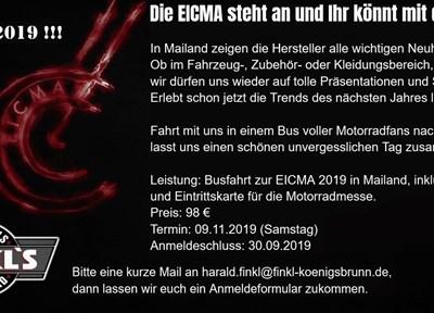 EVENTS Busfahrt zur EICMA 2019 nach Mailand