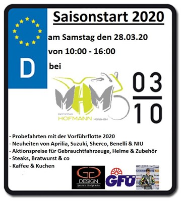 Motorrad Termin MHM Saisoneröffnungsfeier Samstag 28.03.2020
