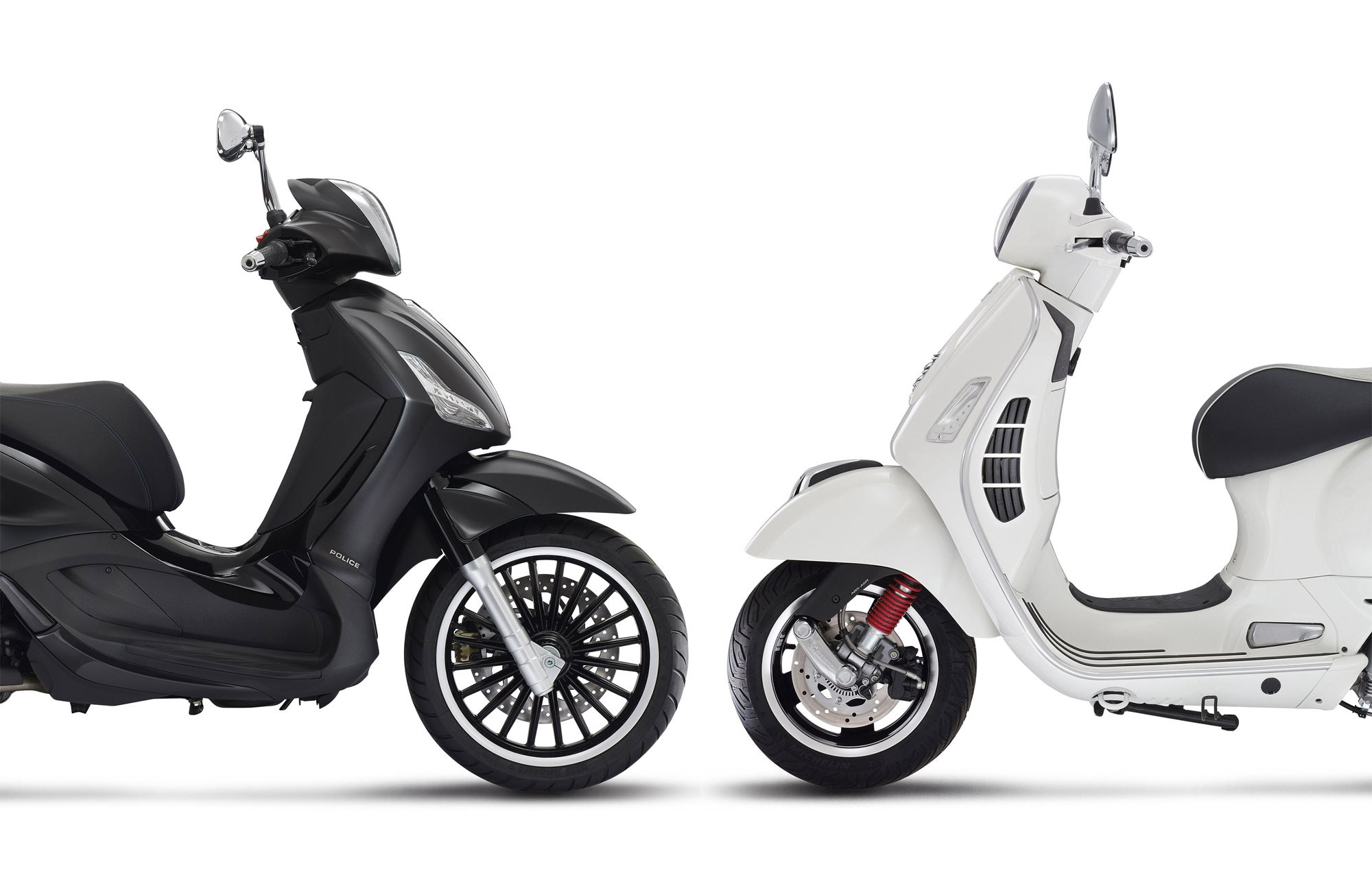 vespa gts 300ie super vs piaggio beverly 300ie police. Black Bedroom Furniture Sets. Home Design Ideas