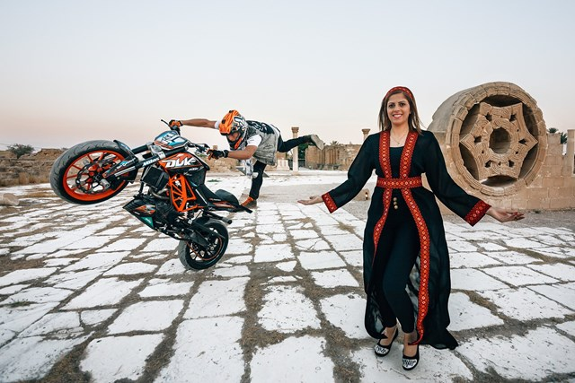 KTM Duke Stunt Rider Rok Bagoros performed in Palestine