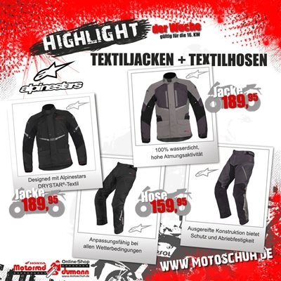 Alpinestars Jacken und Hosen
