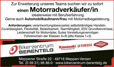 Motorradverkäufer/in gesucht!